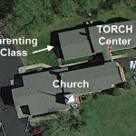 Aerial view of TORCH Center with labels for entrances